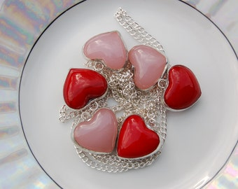6 Red and Pink Stained Glass Heart Charms or Beads. Jewellery Supplies