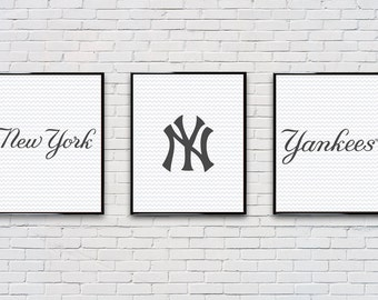 Digital Download Set of 3 Old New York Yankees Poster Set Typography Poster Print - Boys Room - Game Room - 8x10 11x14 12x18