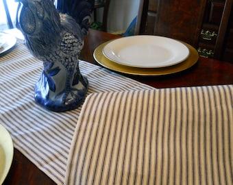 Ticking Stripe Table Runner, French Stripe Table Runner, 14''x84'' Blue Stripe Bed Runner, Buffet Runner, Dresser Runner, Table Linen.