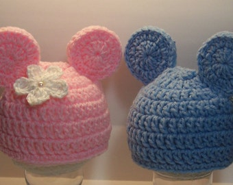 TWIN SET Pink Baby girl Miss Mouse crochet hat, Blue baby boyMr Mouse Crochet Beanie  Hat , SiZES AVAiLABLE Preemie Newborn Infant Toddler