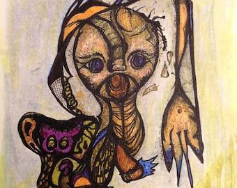 Voodoo Dancer - Original Drawing on Canvaskin ( 9 x 12 )
