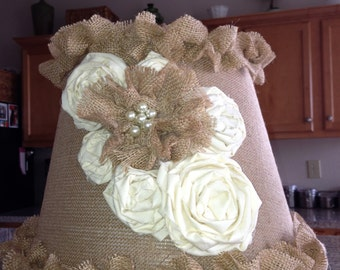Medium Shabby Chic Burlap and Cream Lampshade