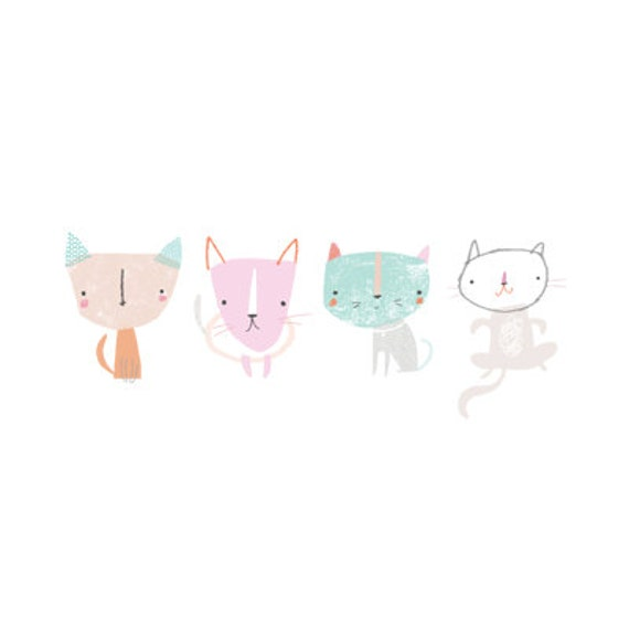 Kittens in a Row - A5 Print