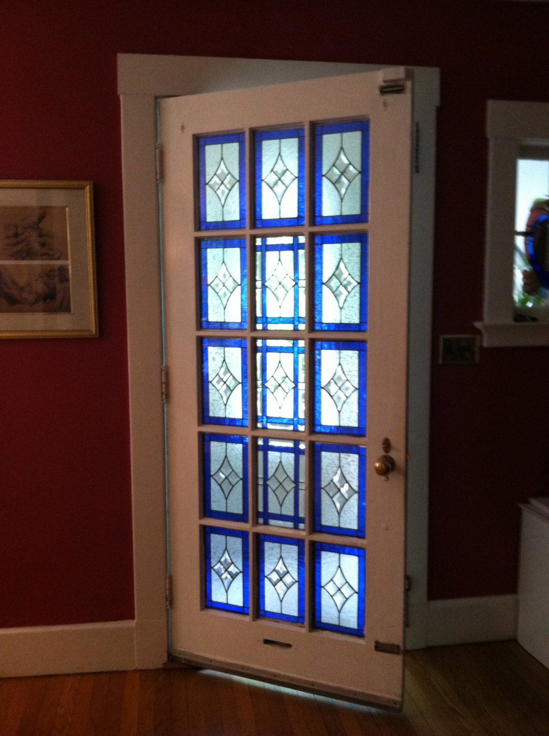 Stained glass beveled french door for Glass french doors