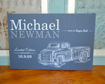 Vintage Truck Personalized Wall Hanging for Boy's Room