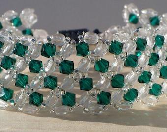 Green Bracelet, Swarovski Bracelet, Beaded Bracelet, Bridal, Swarovski Woven Emerald and Crystal Fire Polish Bead Bracelet - 7 Inches
