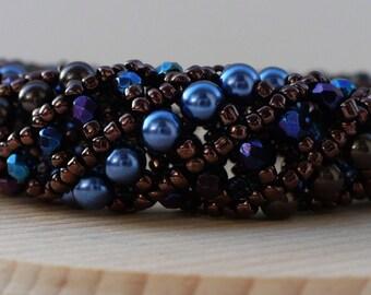 Blue Bracelet, Beaded Bracelet, Blue and Brown Swarovski Pearls and Blue Iris Fire polish Bead Tubal Bracelet - 7 Inches