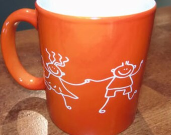Custom engraved mugs with your children's art and hand written message.