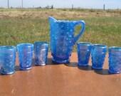 Vintage Wetzel Hobnail Blue Glass Miniature Water Pitcher and 6 Tumblers set
