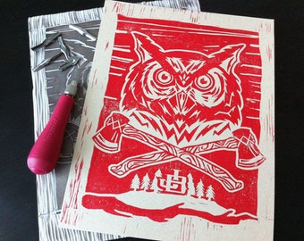 Night Owl - Linocut Print - Red Variant