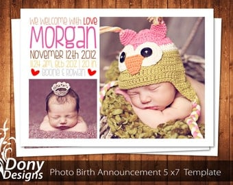 BUY 1 GET 1 FREE Birth Announcement - Neutral Baby Announcement Card - Photoshop Template Instant Download: cardcode-131