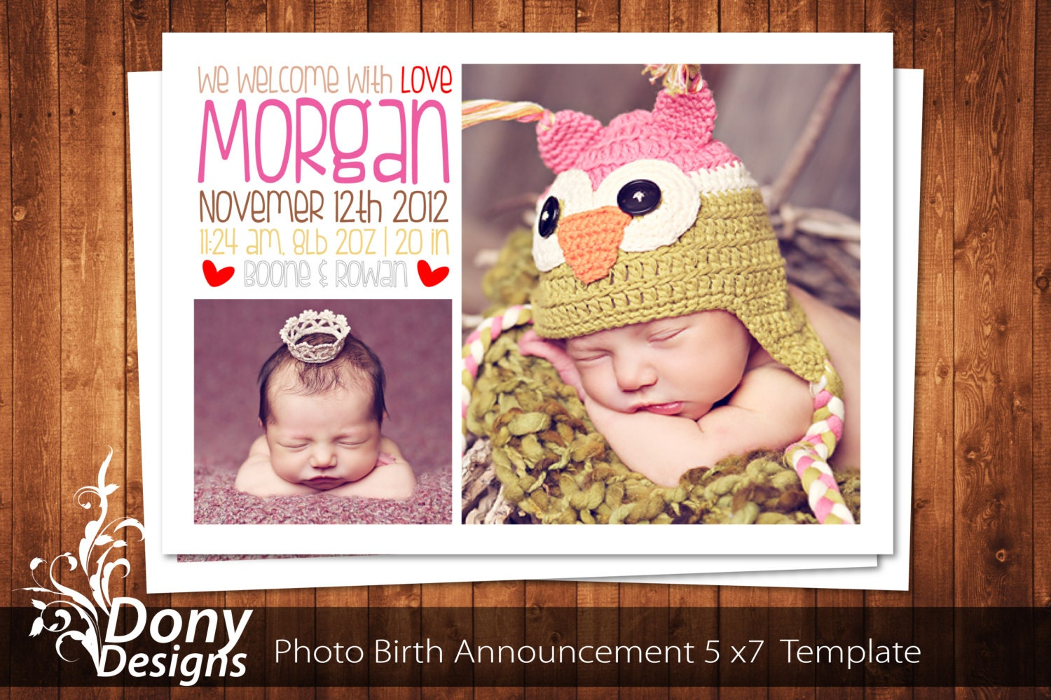 BUY 1 GET 1 FREE Birth Announcement Neutral Baby – Free Baby Announcement Templates Photoshop