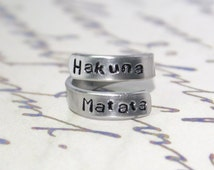 Hakuna matata ring, Disney ring, Disney, Personalized ring, gifts for best friends, mens gifts, hakuna matata, Mothers Day