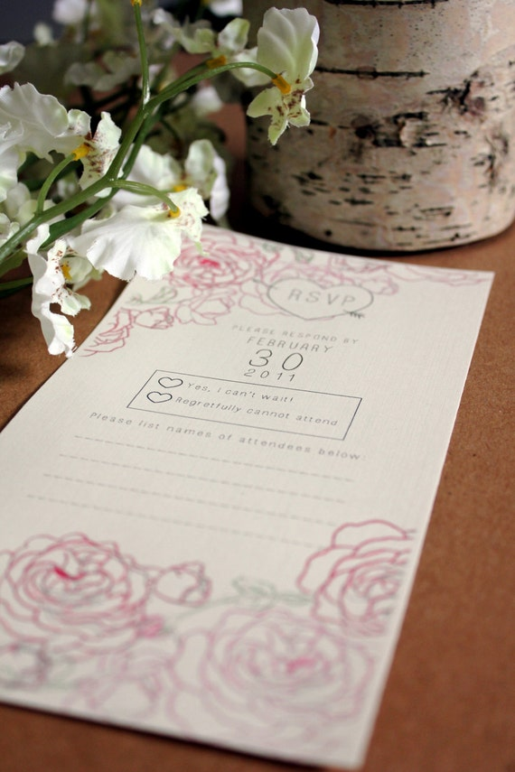 Printable Wedding RSVP: Roses Series, Made to order download