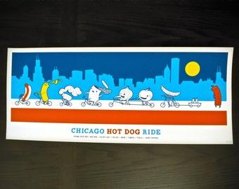 Chicago Hot Dog Ride - 4 Color Screenprint Poster
