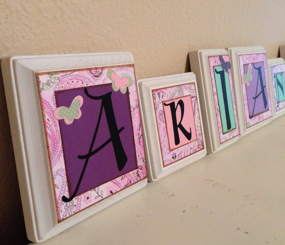 items similar to nursery wall letters personalized custom baby name letters baby gift girl. Black Bedroom Furniture Sets. Home Design Ideas