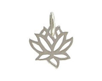 Sterling silver tiny lotus blossom charm for jewelry NDSS6