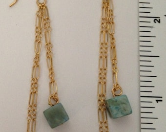 14k gold-filled turquoise colored jasper cube dangle earrings