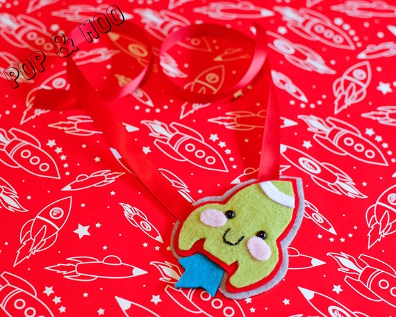 Cute unique necklace / Kawaii womens statement jewellery / Cute red ribbon tie and lime green felt by Pop and Moo.