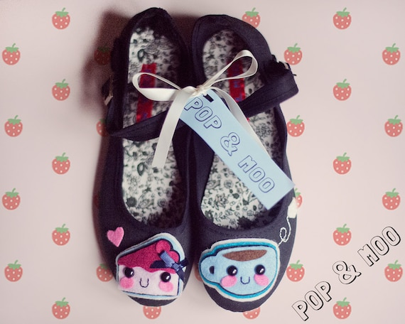 Cute mary janes / Kawaii tea and cake shoes / Quirky statement black canvas mary jane footwear / Unique womens flats UK Size 4 EUR 37 US 6