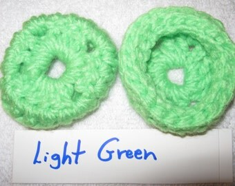 LITE GREEN Ear Cushions, Ear Pads, Ear Cookies for Phone Headset, Call Center, Hand-crochetted, NEW.