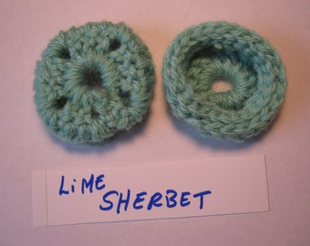 LIME SHERBET - Ear Pads-Cushions-Cookies for Phone Headset, Call Center, Hand-crochetted, NEW.