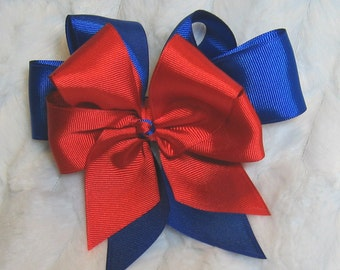 Red & Royal Blue Girls 5 inch Double Hair Bow