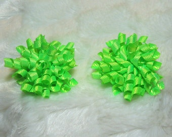 Lime Korker Hair Bow Set - Matching Petite Bow Set - Great for Pigtails or as a Single