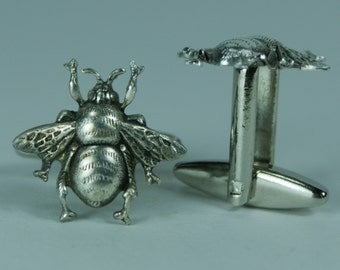 Silver Bumble Bee Cufflinks Free Gift Bag
