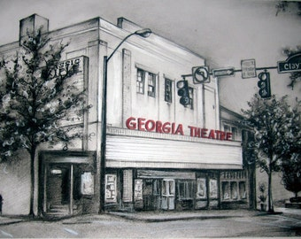 "GEORGIA THEATRE PRINT   high quality 12 x 18"" poster print"