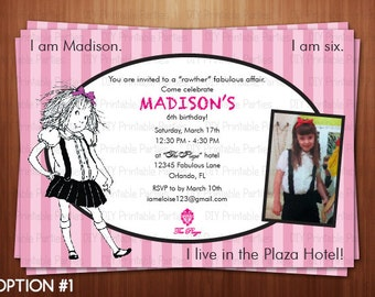 Printable DIY Eloise at the Plaza Theme Personalized Happy Birthday Party Invitation Digital File
