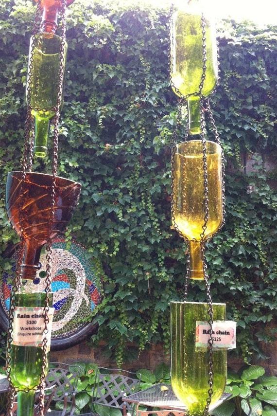 Eco friendly up cycled wine bottle rain chain rain catcher for Outdoor decorating with wine bottles
