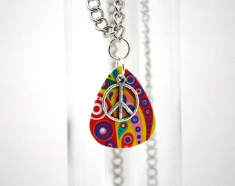 Colorful Guitar Pick Necklace with Peace Sign Charm - Stop Bullying