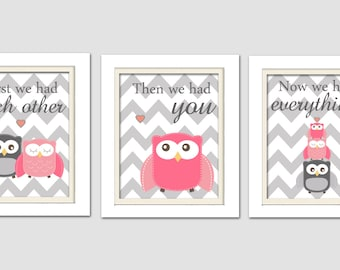 Nursery Art Trio, Nursery Owl Art, Pink and Grey Nursery, Owl Nursery, Set of 3 8x10, First we had each other