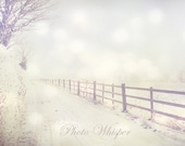 White snow photography winter scenes road photography home decor print 8x10 by photowhisper