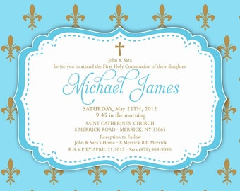 Baptism / Christening / Communion / Dedication Invitation Baby Girl or Boy 5x7 or 4x6 Card - Printable - I Customize You Print