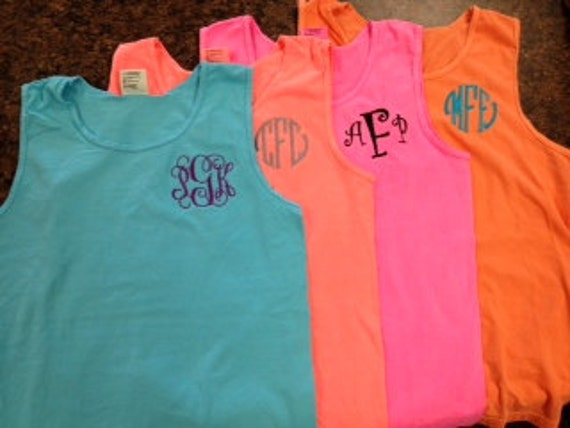 Monogrammed Comfort Color Tank Top Great For Graduation