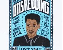 OTIS REDDING Mini-Soul Hand Carved Woodblock Print