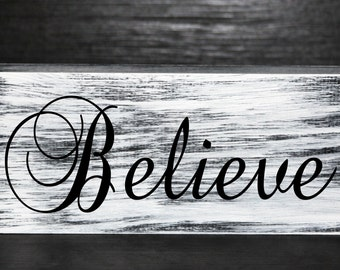 Believe - inspirational primitive wood block decor