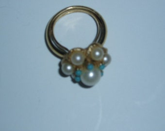 Ring Avon Luster Turquoise & Pearl Adjustable Retro 70s Jewelry