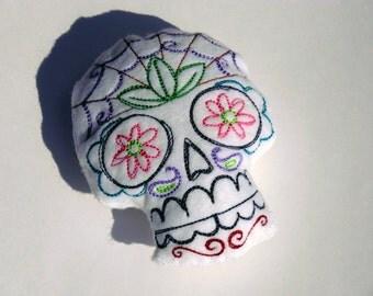 Mexican Sugar Skull - Stuffie - felt doll - plushie - pincushion