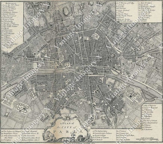 giant Vintage historic old world A city plan Street map of Paris France circa 1800 Restoration Hardware style Fine Art Print Giclee Poster