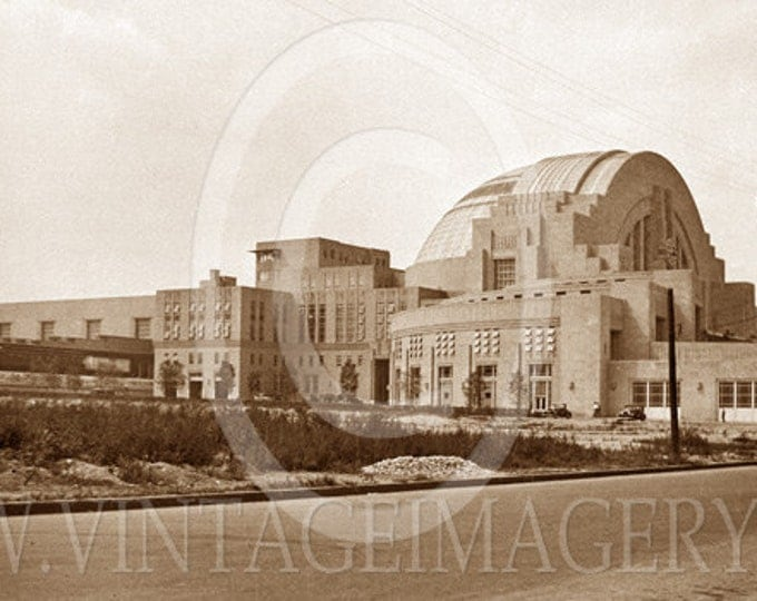 Old Photo 1933 Cincinnati Union Station pictire Vintage Sepia toned Black & White southern view Union Station Train Station Fine Art Photo