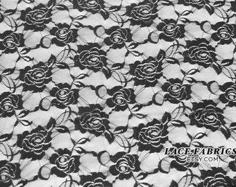 Black Stretch Lace Fabric by the Yard, Wedding Lace Fabric, Bridal Lace Fabric  1 Yard Style 216