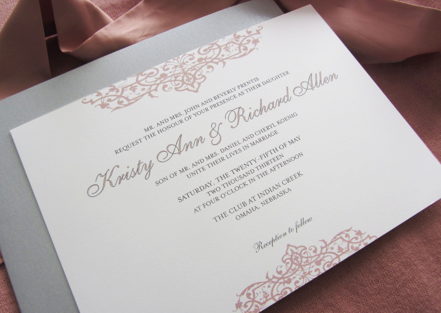 Flourish Wedding Invitations: Printable Wedding Invitation Top Bottom Flourish