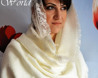 White Long Scarf Lace And Knitted Scarf Double Wrap White Womens Stylish Scarf - Handmade