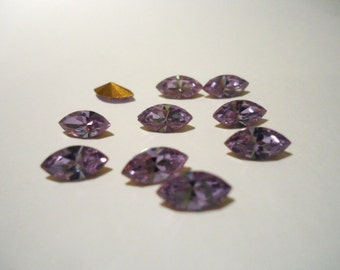 Vintage Glass Alexandrite Light Purple colour Marquise Navette foiled rhinestone approx 8mm x 4mm - 10 pieces Jewellery Supplies Final pack
