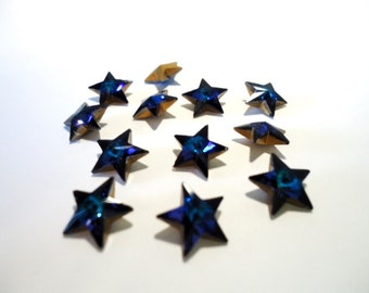 Vintage Glass Star Bermuda Blue colour foiled stone approx 10mm - 2 pieces