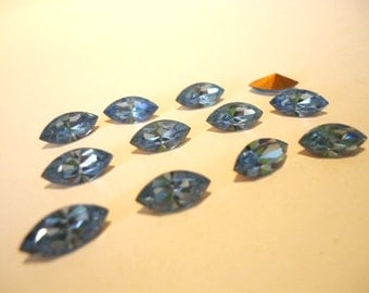 Vintage Glass Light Sapphire Blue colour Marquise Navette foiled stone approx 10mm x 5mm - 6 pieces Art No 300 FINAL PACK