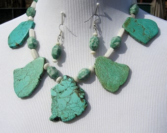 Turquoise  Ching Hai Jade Necklace  Earrings